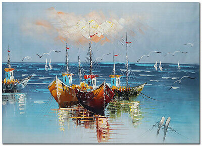 "Harbored Boats - 24x16"" Hand Painted Impressionist Boat Oil Painting On Canvas"
