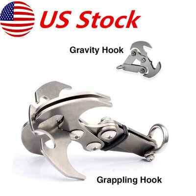 Stainless Steel Survival Grizzly Folding Grappling Hook Climbing Claw Carabiner