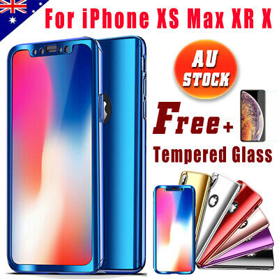 Slim Plating Mirror Case 360° Full Body Shockproof Cover For iPhone XS Max XR X