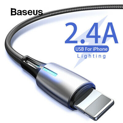 Baseus LED USB Cable 2.4A Fast Charging Nylon Data Cable for iPhone XS XR 8 7 6