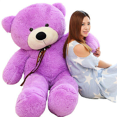 63'' Giant Big Purple Huge Stuffed Soft Teddy Bear Plush  Doll Gift+Ems Shipping
