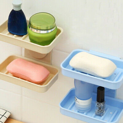 Plastic Soap Drain Holder Colors Kitchen Double Layer Wall Mount Soap Dishes BS