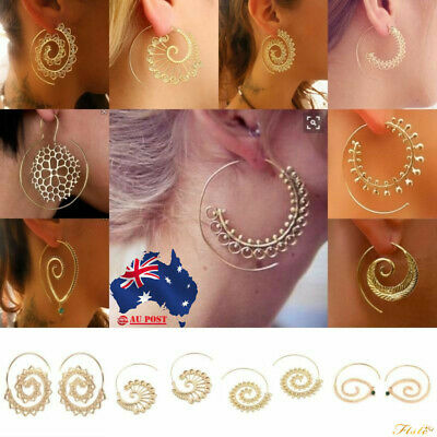 Ethnic Tribal Boho Style Jewelry Spiral Dangle Hoop Earrings Circles Round Brass