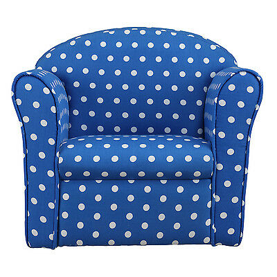 Kids Children's Tub Chair Baby Armchair Sofa Stool Blue w/ White Spotted Fabric