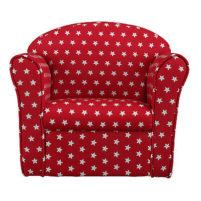Kids Armchair Children's Tub Chair Baby Sofa Stool Seat Red w/White Stars Fabric