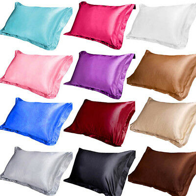 100% Silk Satin Standard Pillow Case Cushion Cover Pillowcase Home Bed Decor GOU