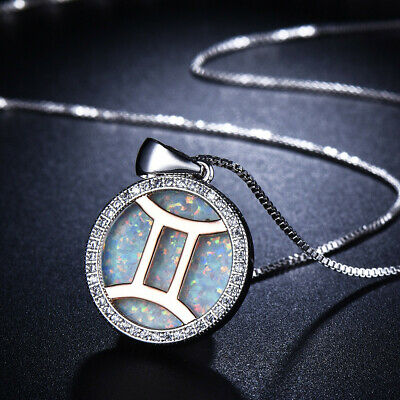 European Round Style White Fire Opal Rose Gold Plated Silver Necklace Pendants