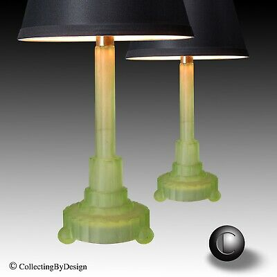 PAIR VTG 1930's Machine Age Art Deco Frosted Green Vaseline Uranium Glass Lamps