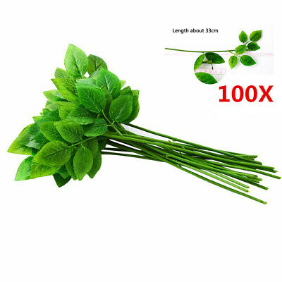 50/100 Green Leaves Stem Wire DIY Handmade Floral Wire Artifical Rose Plant Stem