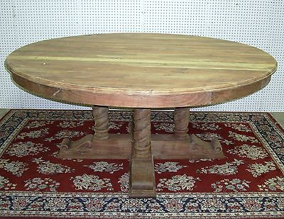 """Antique Style 72"""" Round Barley Twist Hardwood Dining Entry Table Country French"""