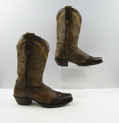 Ladies Tony Lama Brown Leather Square Toe Cowboy Western Boots Size: 6.5 B