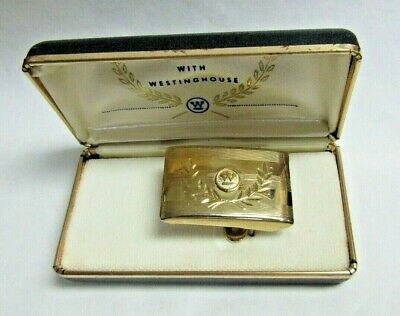VTG Westinghouse 10 Year Service Employee Belt Buckle Gold Plated Original Box