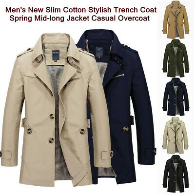 Men's New Slim Cotton Stylish Trench Coat Spring Mid-long Jacket Casual Overcoat