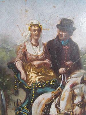 ANTIQUE 1800s unsigned EUROPEAN HORSE & BUGGY RIDE OIL PAINTING