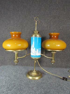 *Rare* Antique 1879 Kleeman Hinrichs Double Brass Student Lamp....mary Gregory
