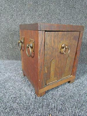 ANTIQUE c.1910 OAK ARTS & CRAFTS TOBACCO HUMIDOR by CRAFT SHOP