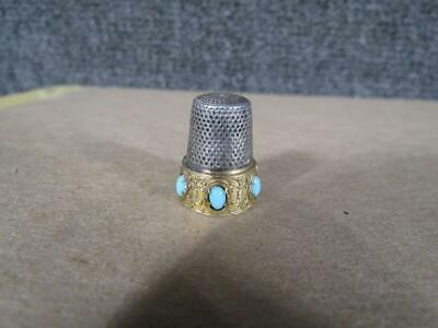 ANTIQUE ornate STERLING SEWING THIMBLE & TURQUOISE DESIGN