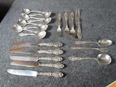 19pcs FRANK WHITING STERLING SILVER FLATWARE in rare LILY PATTERN