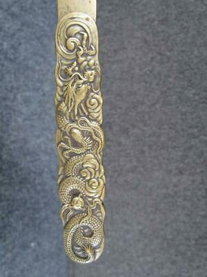 ANTIQUE CHINESE BRONZE BRASS ARTS & CRAFTS LETTER OPENER with DRAGON DESIGN