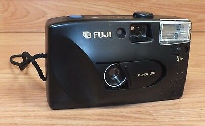 For Parts Genuine Black Fuji DL-7 Film Camera (11015611) Built In Flash READ