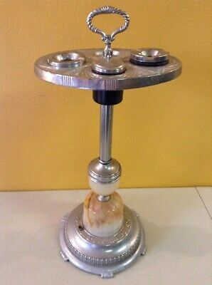 Vintage Antique Mid Century Smoking Stand Chrome Ashtray Lighted Slag Glass