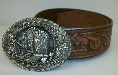 Vintage Leather Tooled Belt with Cowboy Boots Belt Buckle