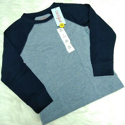 NWT CAT & JACK Youth Boys Toddler Two Tone Long Sleeves Shirt Navy, Size 5T