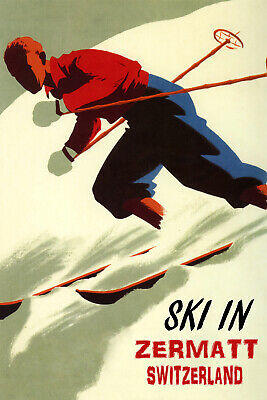 Downhill Skiing Thrill Ski Zermatt Switzerland Winter Sport Vintage Poster Repro