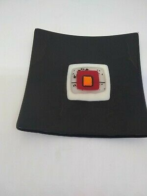 "5 3/4"" Square Fused Glass Tray"