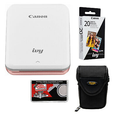 Canon IVY Wireless Bluetooth Mini Photo Printer Rose Gold & Paper Bundle
