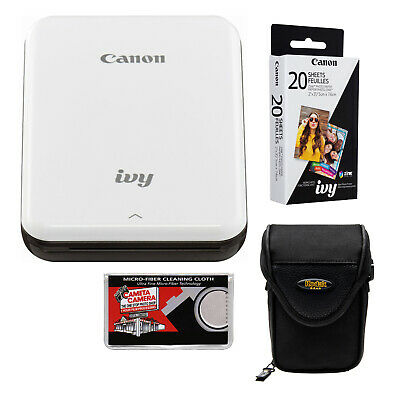 Canon IVY Wireless Bluetooth Mini Photo Printer Slate Gray & Paper Bundle