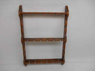 Old Vtg COLLECTORS SPOON WOOD RACK HOLDER Wall  Display Holds 18 Spoon  [061eye]