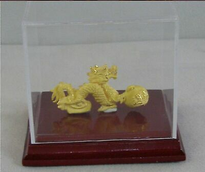 24K Gold Imperial Horned Dragon Figurine In Display Case