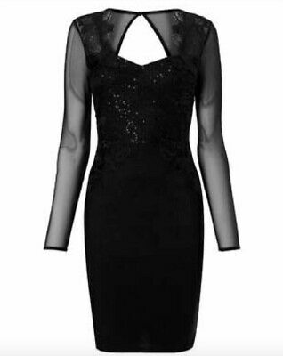 c3b69efb BNWT LIPSY Black Lace Artwork Long Sleeve Mini Bodycon Dress Size 10 RRP £80
