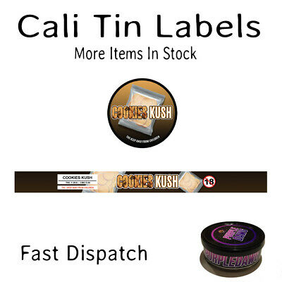 COOKIES KUSH 100ML PRESSITIN LABELS (Cali/Tuna Tin Stickers - 10 CAN PACK)