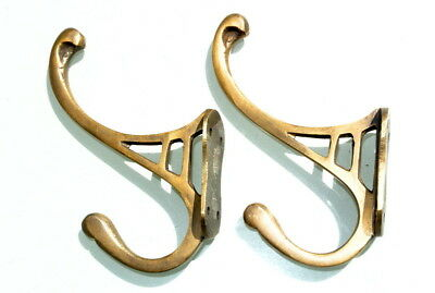 "2 natural look hall stand 4 COAT HOOKS door solid brass aged old style 4 ""DECO"