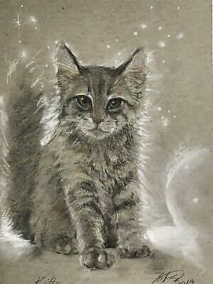 Original painting kitten cat pastel Art listed direct from artist American US