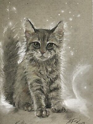 Original painting kitten cat pastel fine Art listed direct by artist American US