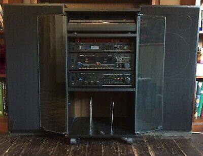 Vintage Sherwood 4 component stereo sound system in cabinet