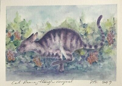 Original painting Kitten Cat Vineyard art pet animal Artwork direct from artist