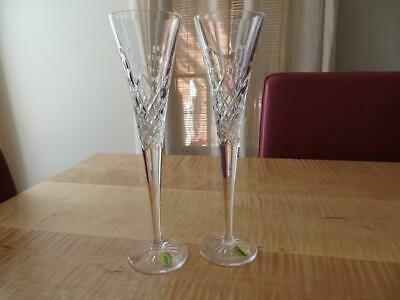 2 Champagne Toasting Flutes Waterford Wishes Happy Celebration