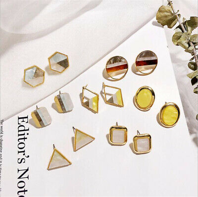 Fashion Women Statement Boho Metal Acrylic Geometric Simple Ear Stud Earrings