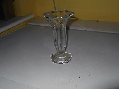 Footed Six Sided Clear Glass Vase With A Flared Back Rim