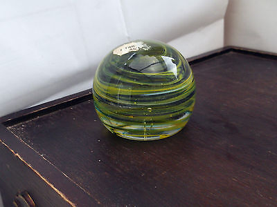 ?Mtarfa  Glass Paperweight With Thin Green And Blue Swirls