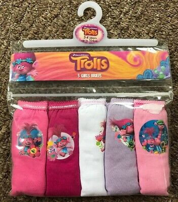 BNWT Girls 5 Pack Trolls Patterned Pink Mix Pants. Age 3-4 Years
