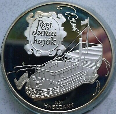 Hungary 1000 Florint 1995 SILVER PROOF Ships and Explorers Hableany 34g (BB3)
