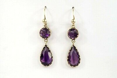 Pretty Antique Late Victorian English Silver Gilt Natural Amethyst Drop Earrings