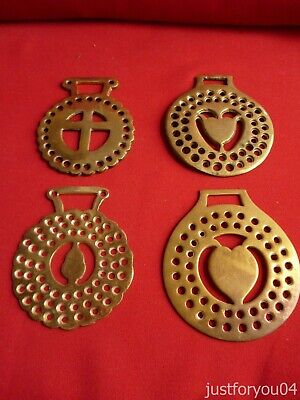Set of  Four Vintage Horse Brass - Tulip/Acorn/Cross with Perforations Design