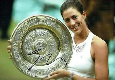 Garbiñe MUGURUZA SIGNED Autograph WIMBLEDON Tennis Champion 12X8 Photo AFTAL COA