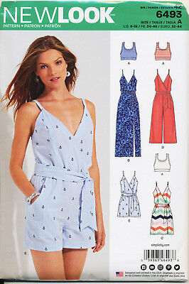 New Look Sewing Pattern 6493 Misses 6-18 Wrap Jumpsuits, Dress, Maxi & Bralette